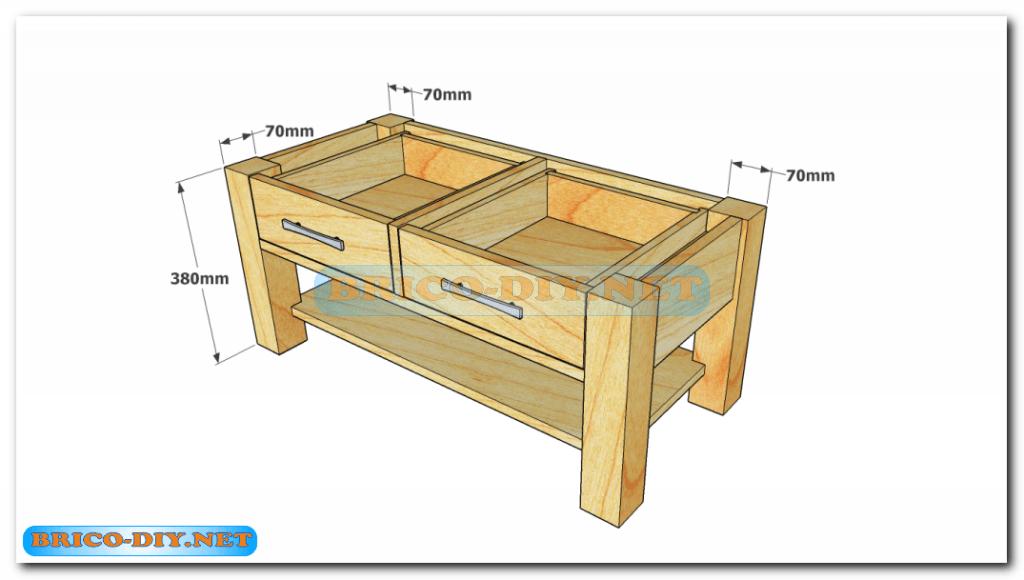 Plano como hacer mesa de centro madera web del bricolaje for Diseno de muebles de madera
