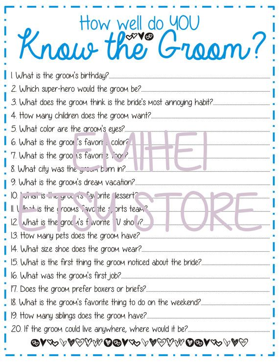 How Well Do You Know The Groom Bridal Shower Blue Fun Detailed