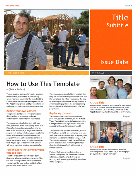 free newsletter template httpwwwmsofficeguruorgnewsletterhtml