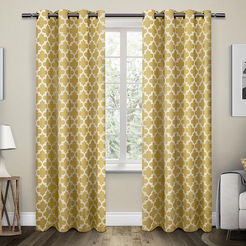 Exclusive Home Neptune Grommet Curtain Panel Pair Mecca Orange - EH7926-05 2-96G