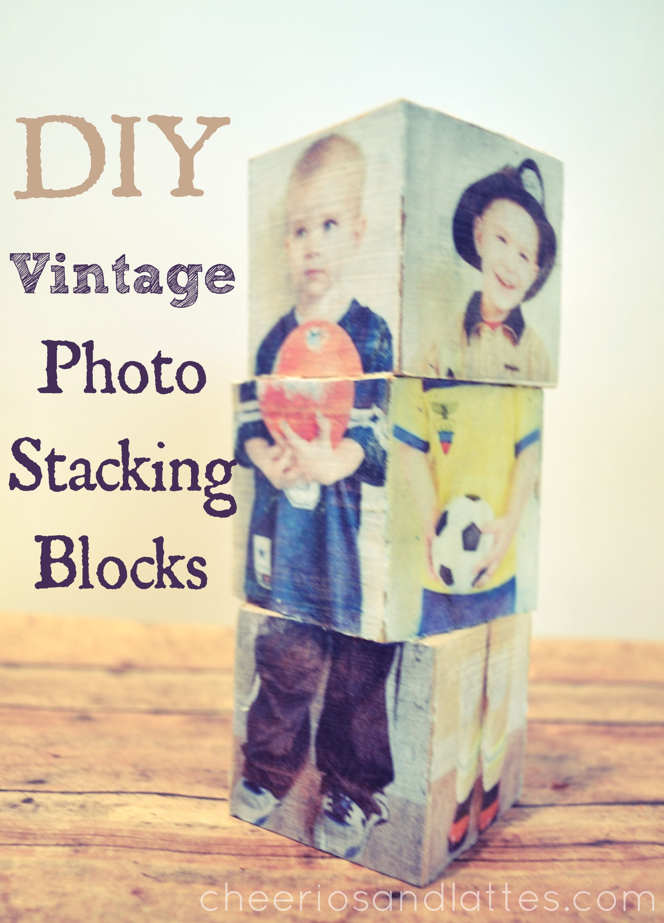 DIY Vintage Photo Stacking Blocks; I know these are supposed to be for the home, but when I see them, I think of what a great pre-school teaching toy they could be.