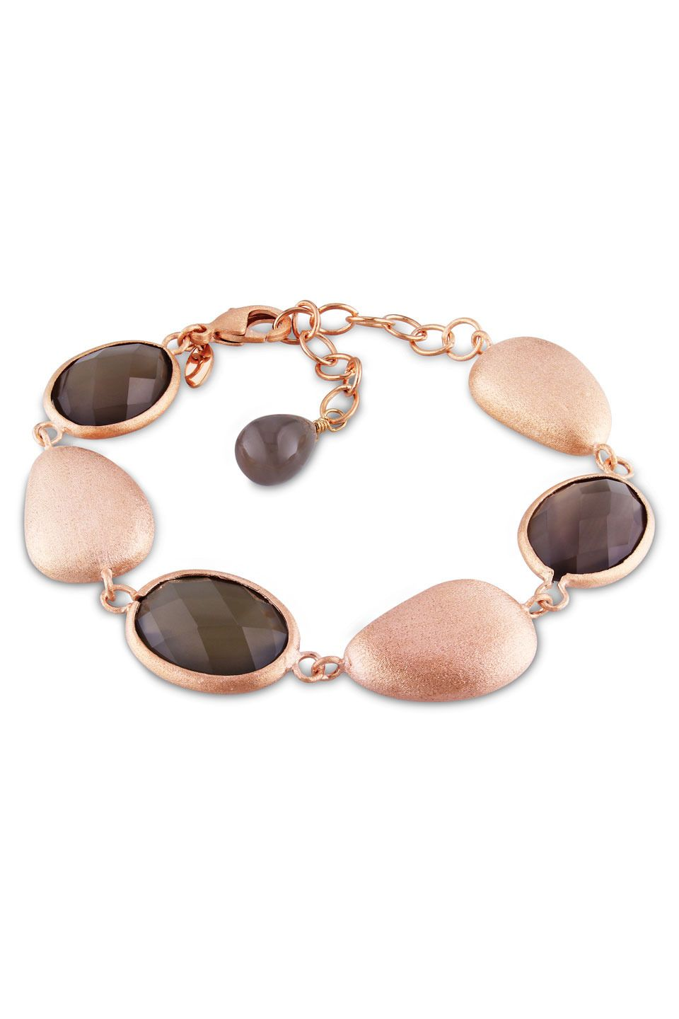 Gray Agate Bracelet in Pink Gold