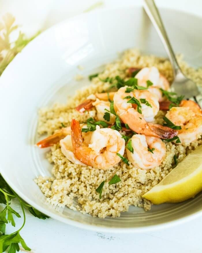 Looking for a 15-minute meal to curb that hangry edge? Try this quick garlicky shrimp couscous, whi