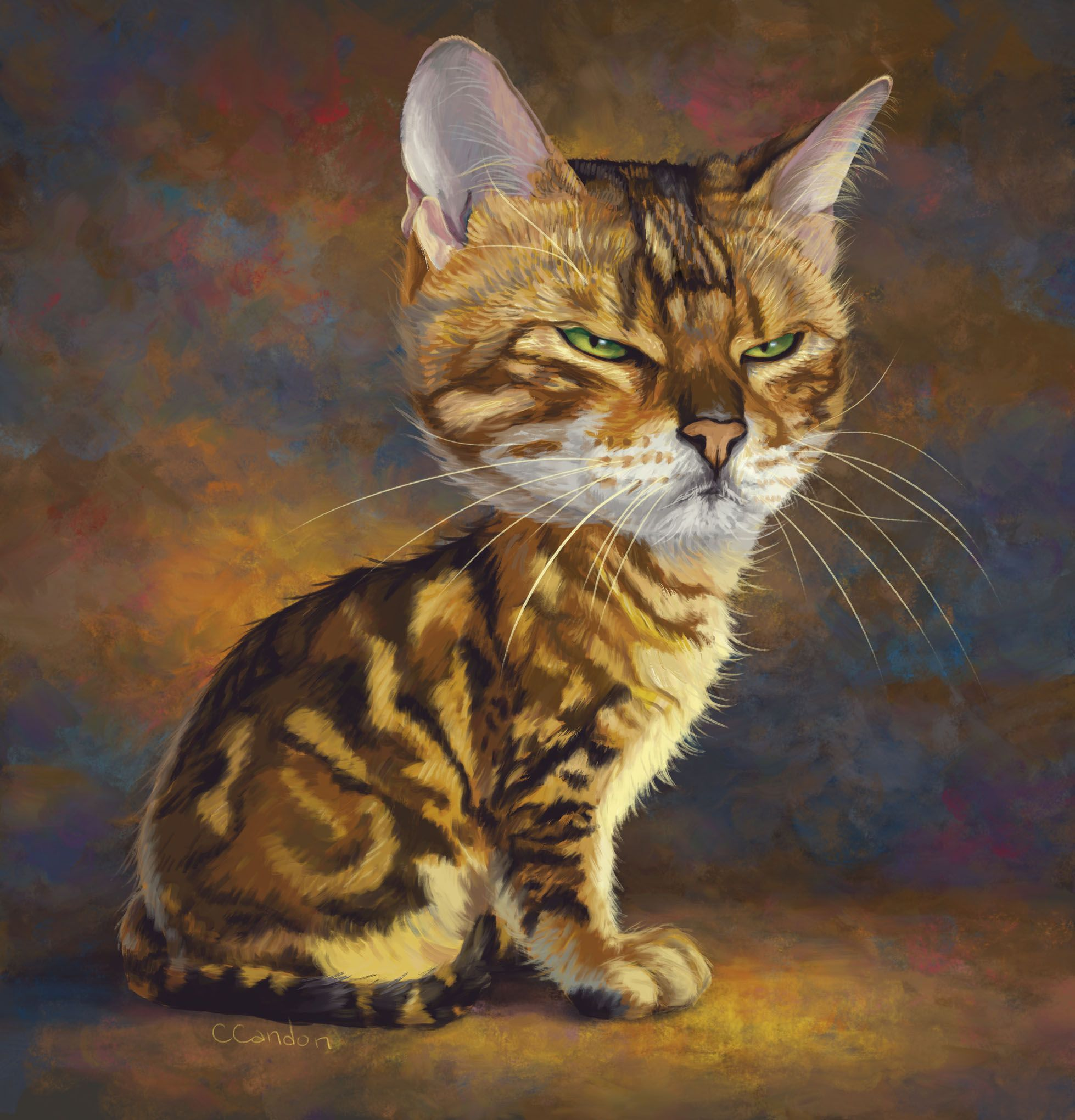 Cat With Attitude Animal Caricature Bengal Cat Cats