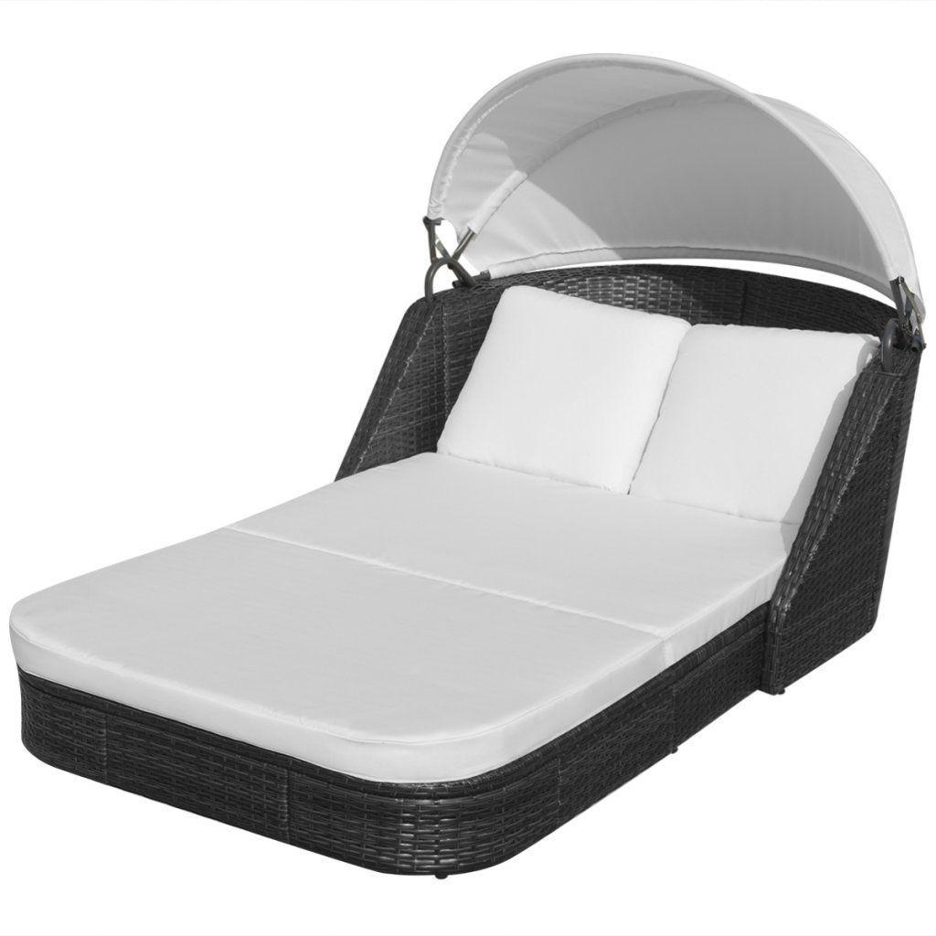 Amazon vidaxl polyrattan sun lounger double seater canopy roof