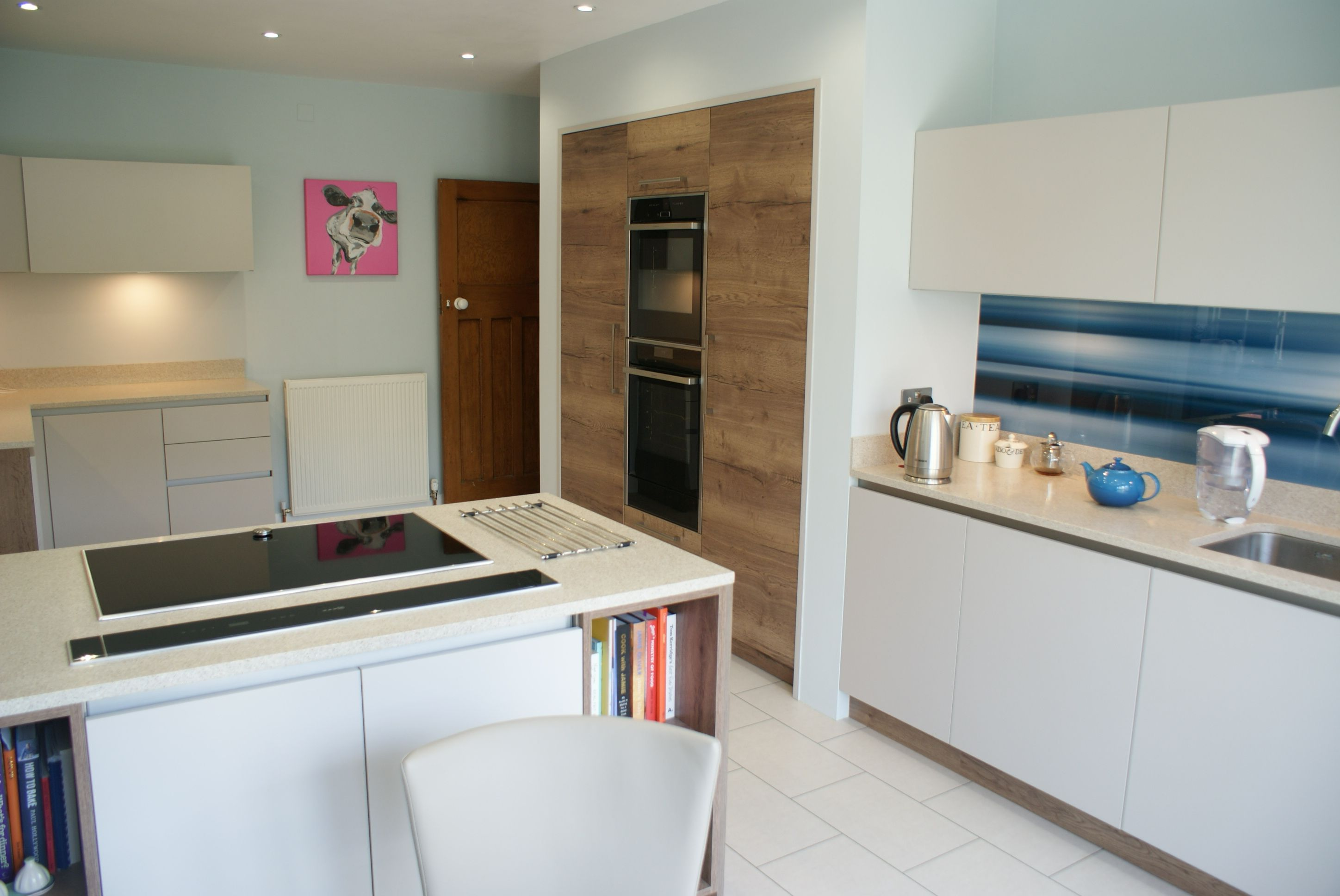 Fusion Linear Kitchen In Smooth Painted Cashmere / Halifax Tobacco Oak By  Saffron Interiors Of Guildford