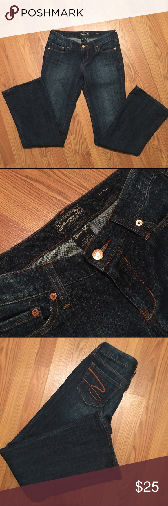 Seven 7 jeans from express never worn These jeans from express have never been worn, are a dark wash with a little bit of flare, and are a size 28. Seven7 Jeans Flare & Wide Leg