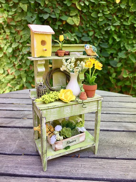 Buy 3 Save $5 Miniature Dollhouse Fairy Garden Potted Yellow Flower w// Trellis