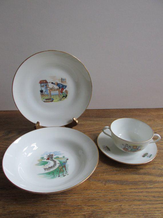 Vintage Richard Ginori Porcelain Children S By Shopthehyphenate Kids Dinnerware Kids Plates Vintage Children