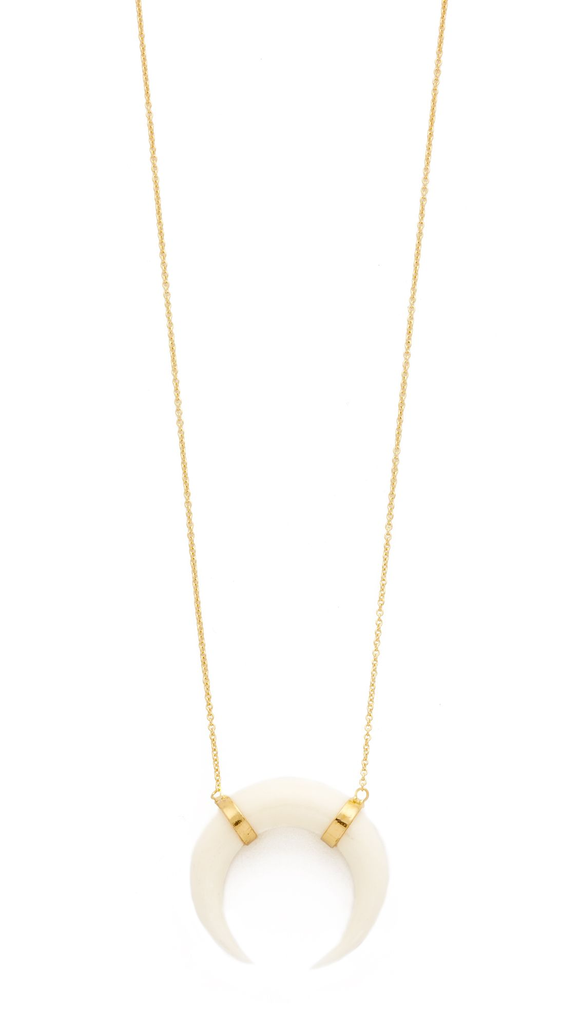 Jacquie Aiche Double Bone Horn Necklace in Metallic Gold Zv0G7rd8