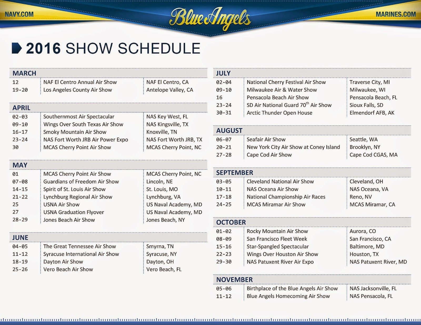 2016 Blue Angels SHOW SCHEDULE (With images) Blue angels