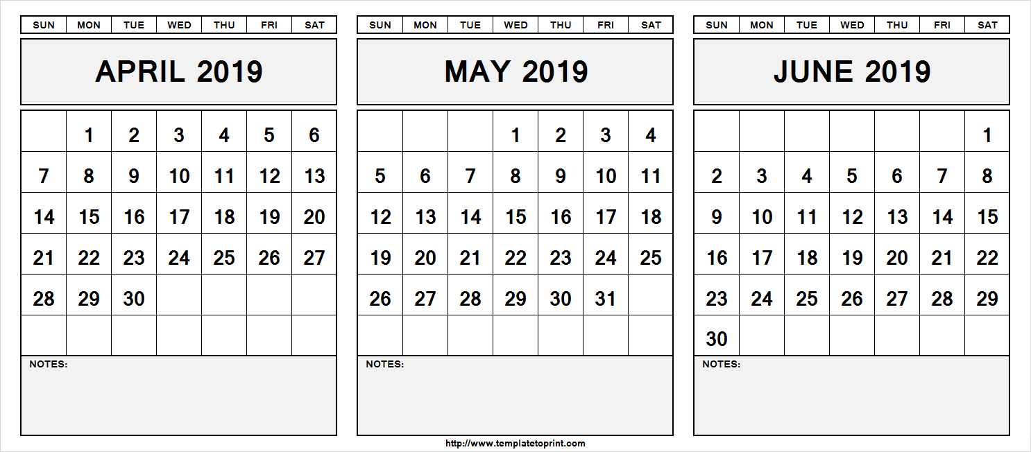 June 2019 To June 2020 Calendar Printable.Printable April May June 2019 Calendar With Notes April May June