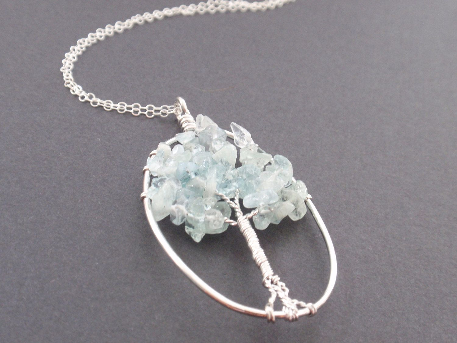 White gold frame Aquamarine Faceted Tree Pendant by siemprejewelry, $36.00