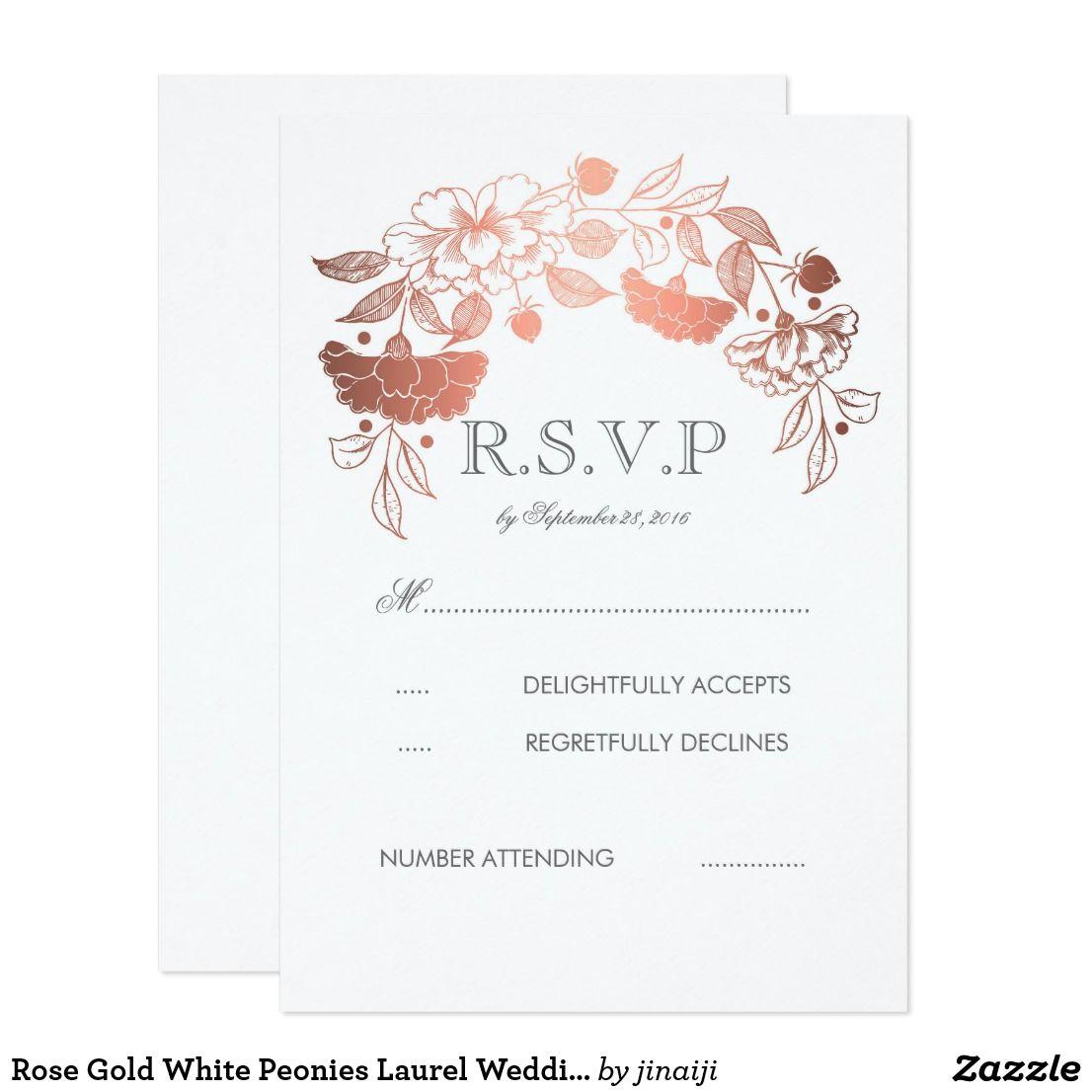 Rose Gold White Peonies Laurel Wedding RSVP Cards Rose gold floral ...