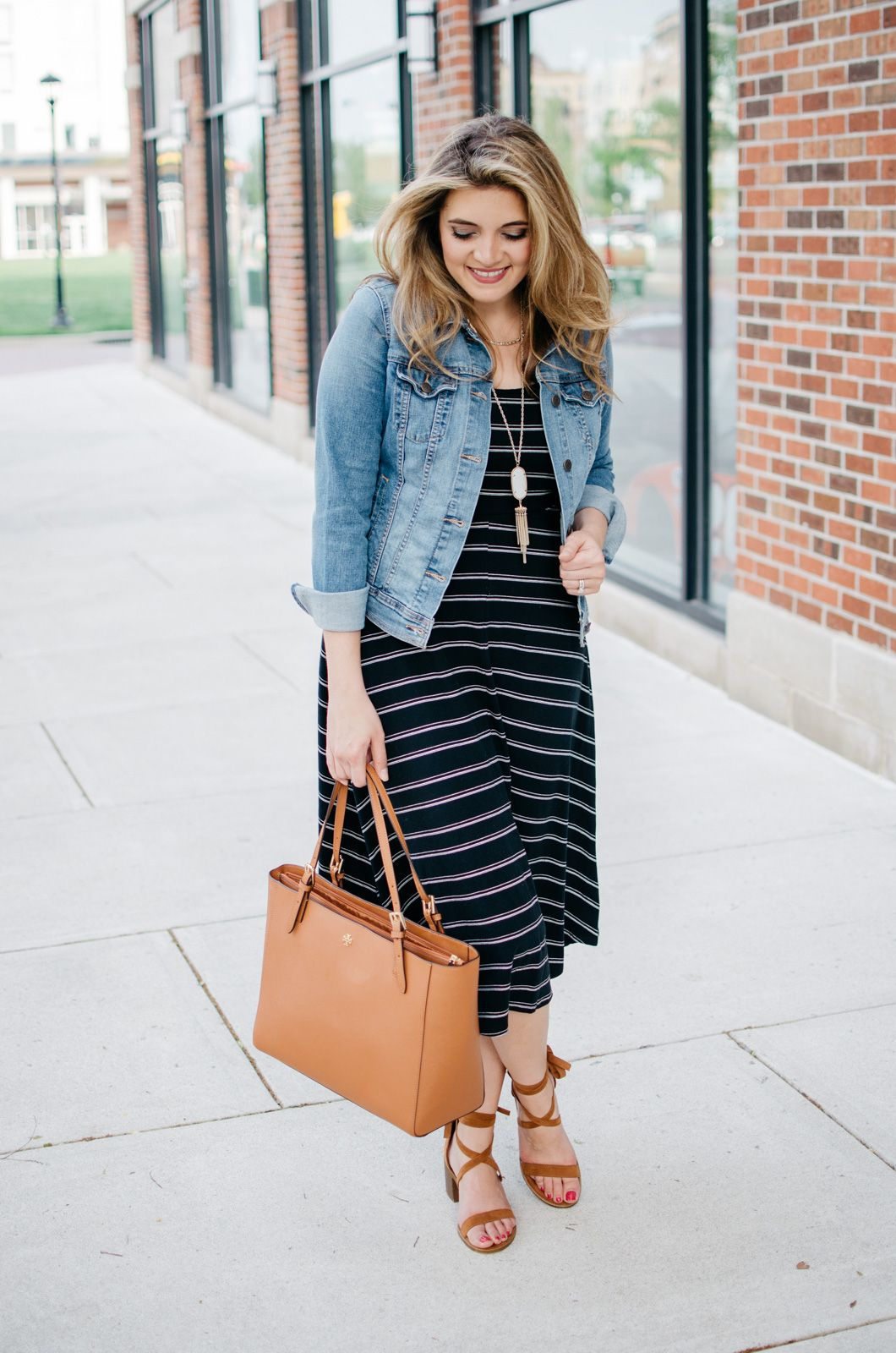 Striped Midi Dress By Lauren M Spring Outfits Casual Striped Midi Dress Tshirt Dress Outfit [ 1600 x 1060 Pixel ]