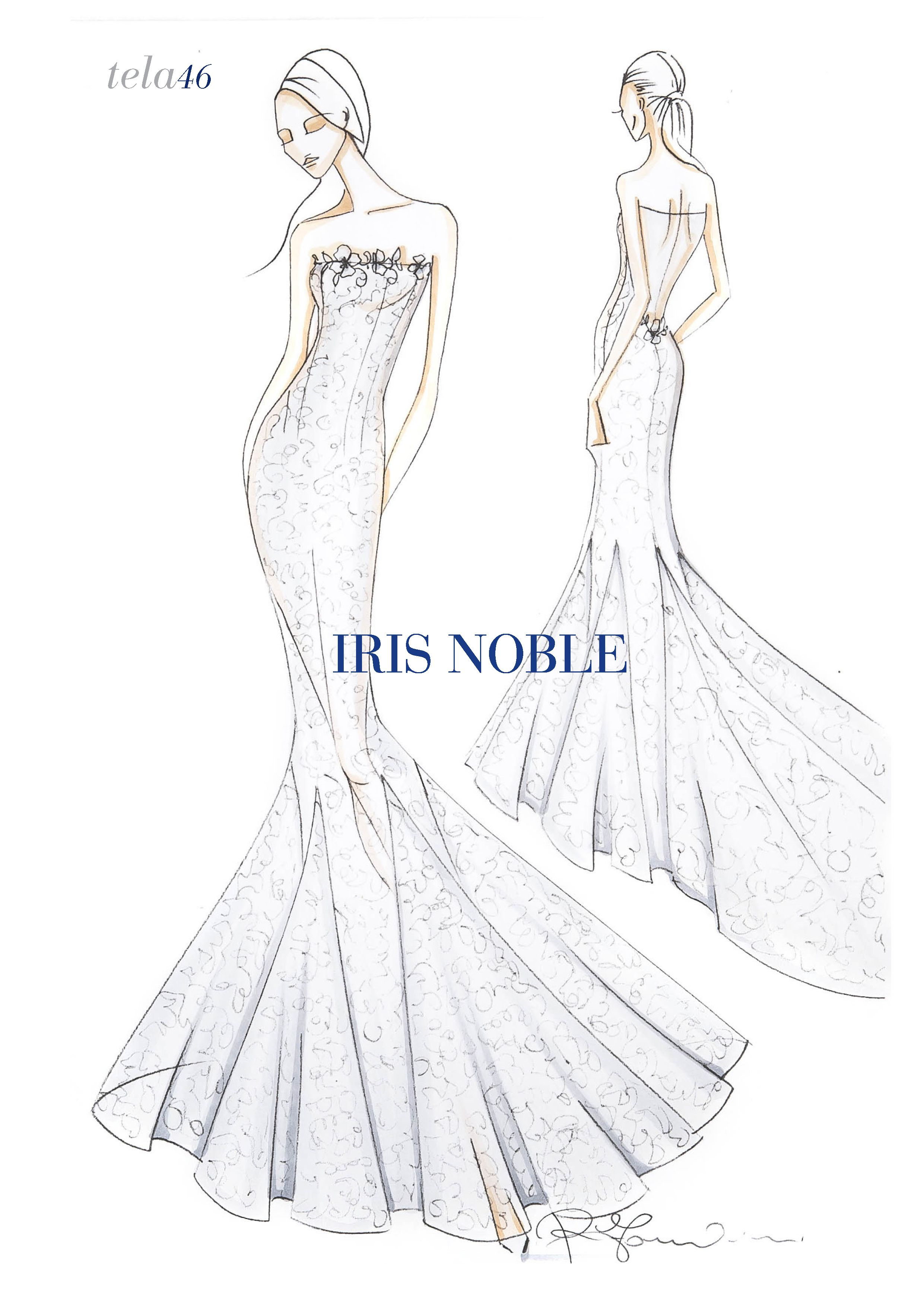 Iris noble wedding dress  Mermaid lace dress with long train nude back and swarovski