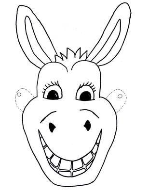 template free kids mask donkey craft children
