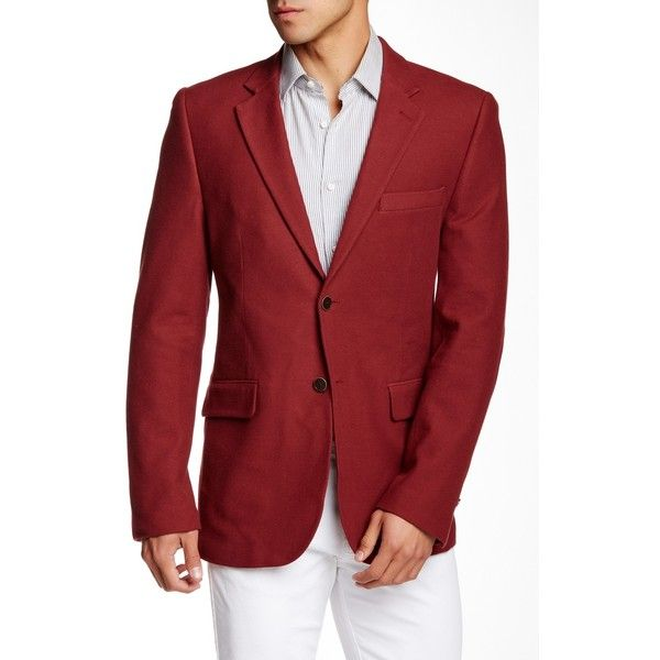 Nautica Textured Red Two Button Notch Lapel Sports Coat ($100) ❤ liked on Polyvore featuring men's fashion, men's clothing, men's sportcoats, red and nautica mens clothing