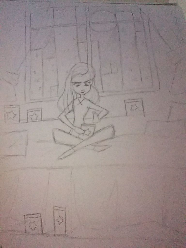A Girl Sitting On Her Bed Putting Stars In Jars Angelica