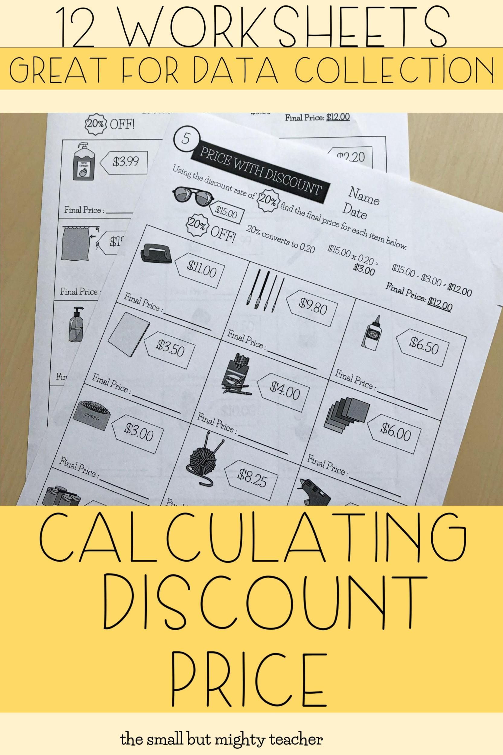 Price With Discount Worksheets In