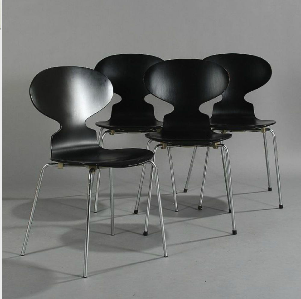 Details About Rare Set 4 Arne Jacobsen Ant Chair Fritz