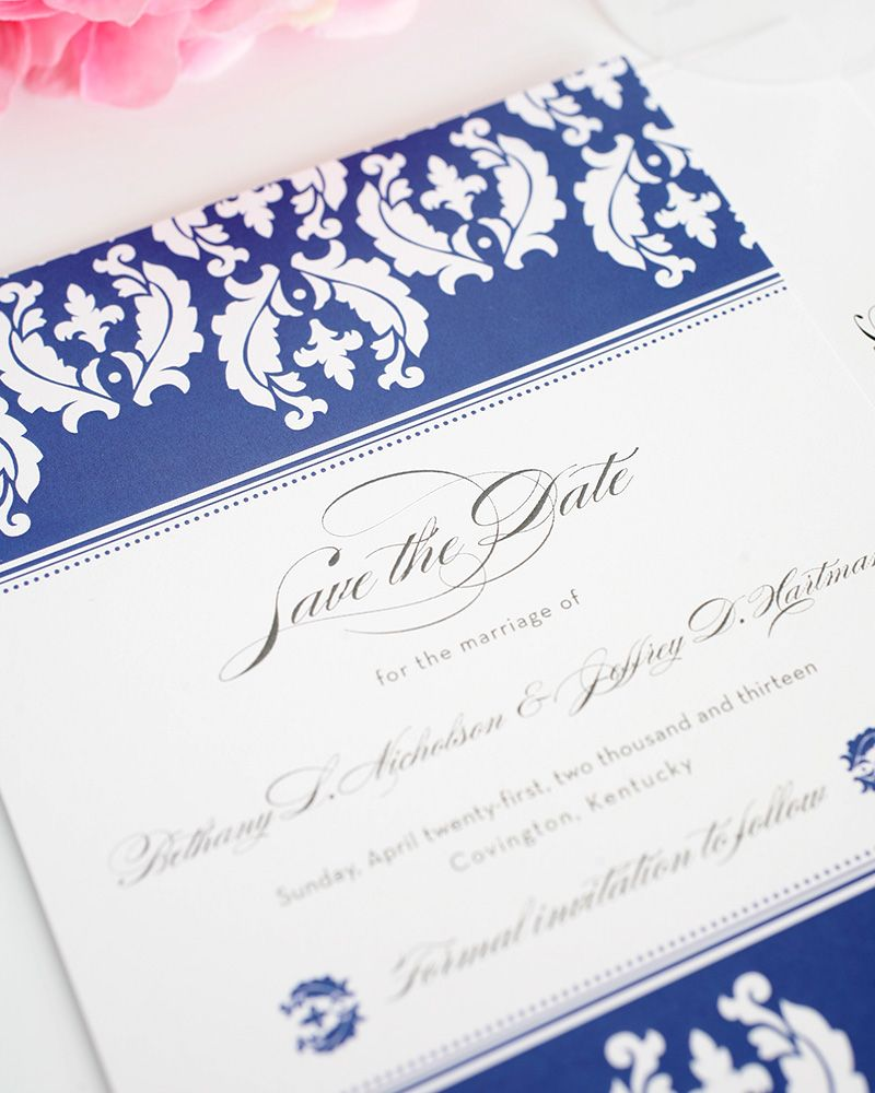 Damask Invitations in Blue and White | Shine wedding invitations ...