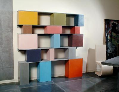 cinder+block+shelves | Simple boards and painted blocks make such a modern and chic bookcase!