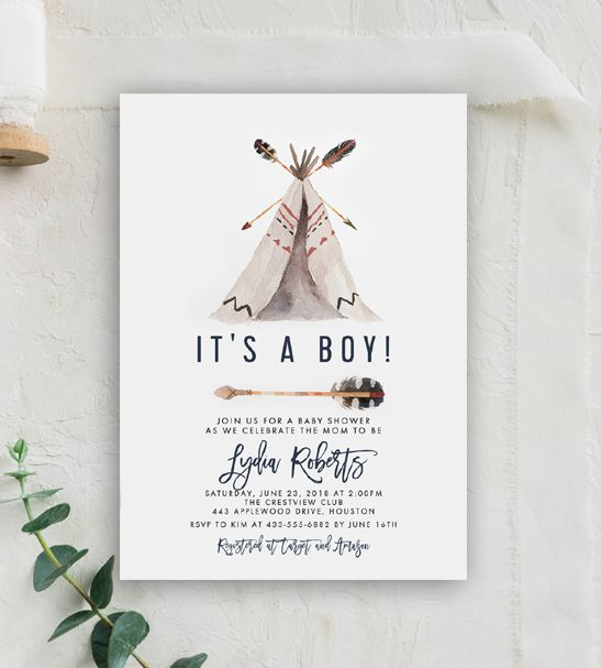 Instantly Personalize - Rustic Tribal TeePee Arrow Baby Shower - baby shower invitation template download
