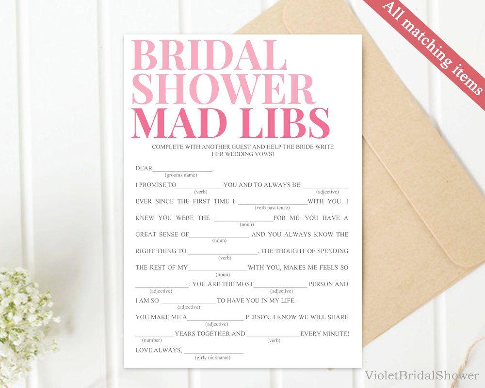 Modern Pink Mad Libs Game Template Printable Blush Elegant Bridal - Bridal shower game templates
