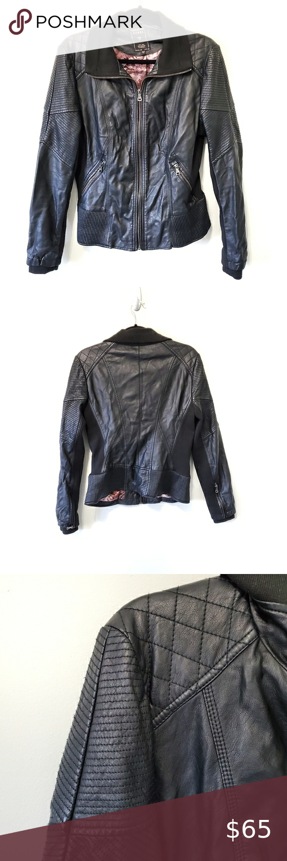 Guess Faux Leather Jacket Black Faux Leather Jacket Leather Jacket Faux Leather Jackets