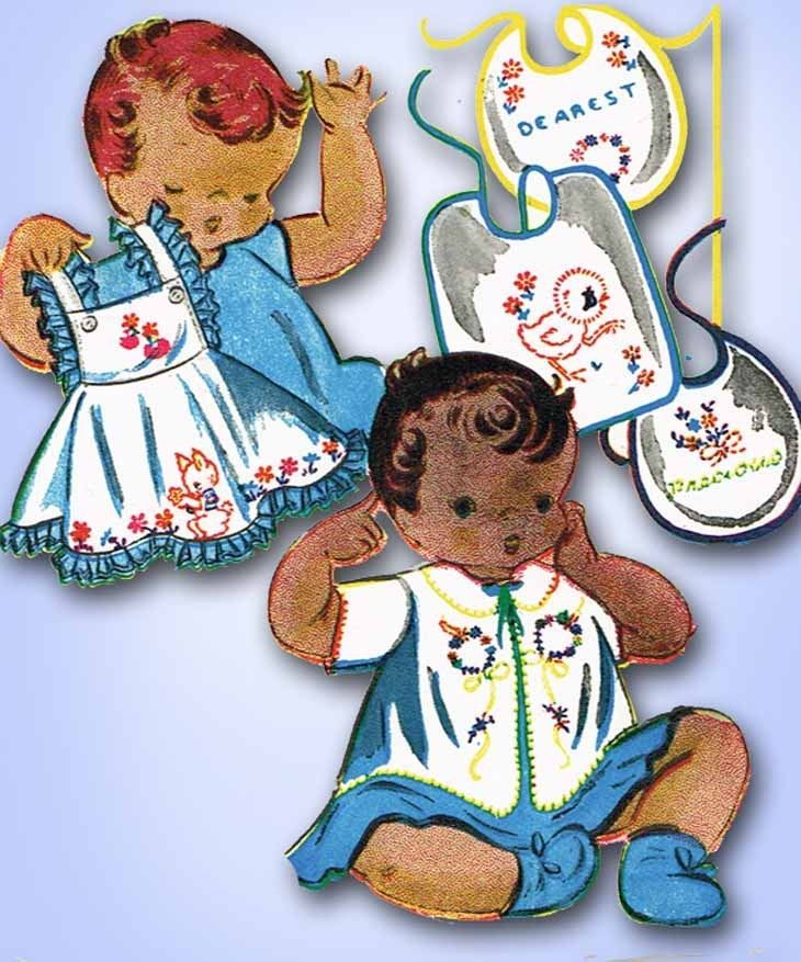 1960s Vintage Vogart Embroidery Transfer 708 Uncut Set Baby and Nursery  Motifs