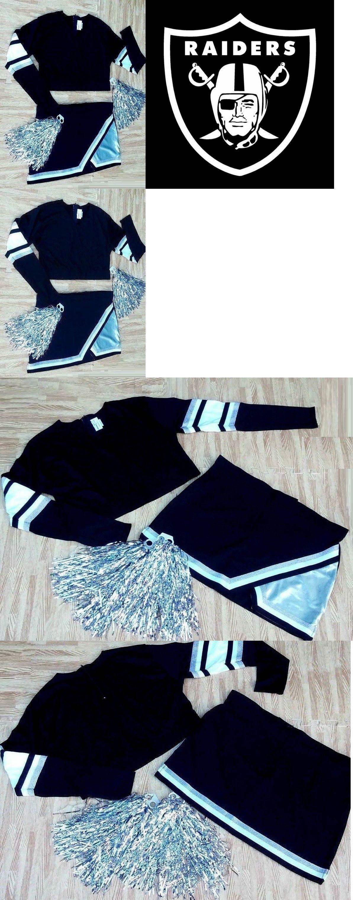 6bc9a4b5630 Cheerleading 66832  Adult Xxl Black Silver Cheerleader Uniform Top Skirt  Poms 46-49 38-40 Raiders -  BUY IT NOW ONLY   39 on  eBay  cheerleading   adult .