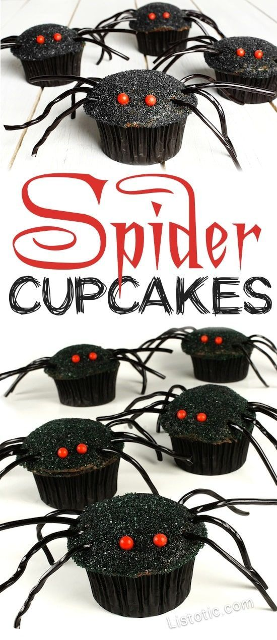 Easy Spider Cupcakes for kids and adults! The perfect Halloween party food and creepy Halloween treats! #creepy #spidercupcakes #halloween #halloweentreats #creepyhalloweentreats #cupcakes #spiders #halloweenparty