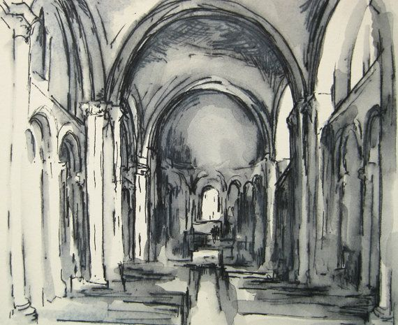 Ink Drawing   Cathedral Interior, Angouleme, France   By Michelle Arnold  Paine