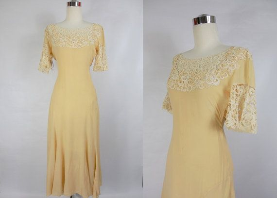 Hey, I found this really awesome Etsy listing at https://www.etsy.com/listing/162511253/1930s-cream-chiffon-and-lace-day-dress