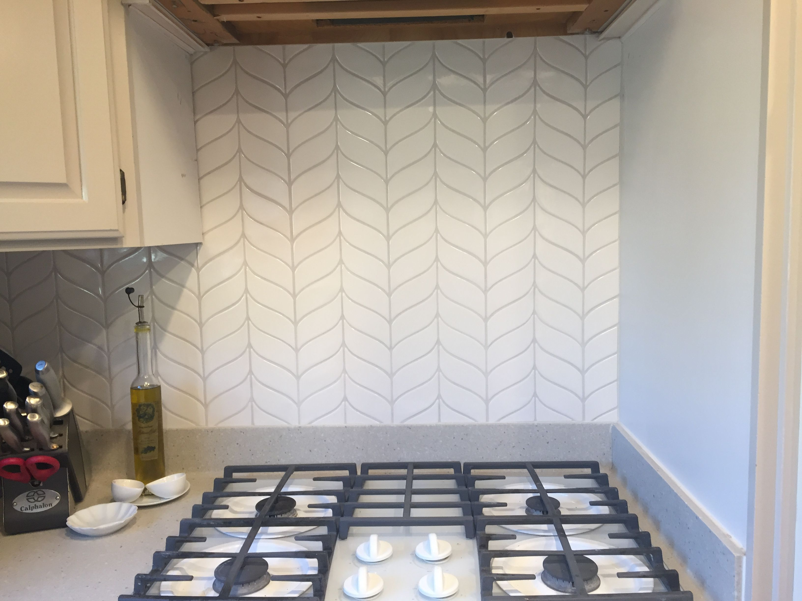 - Walker Zanger White Curved Chevron Added To Our Kitchen Chevron