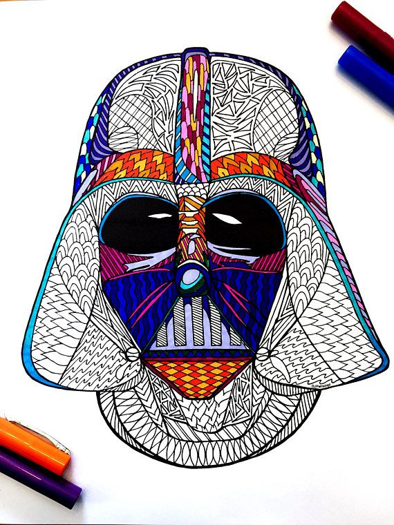 Darth Vader Helmet PDF Zentangle Coloring Page By DJPenscript