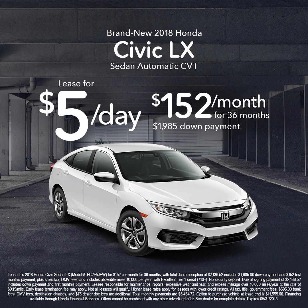 2018 Honda Civic Lx Lease For 5 Day W 1 985 Down Expires 05 31 2018 Click The Website Link For More Information New Honda Honda Civic Honda