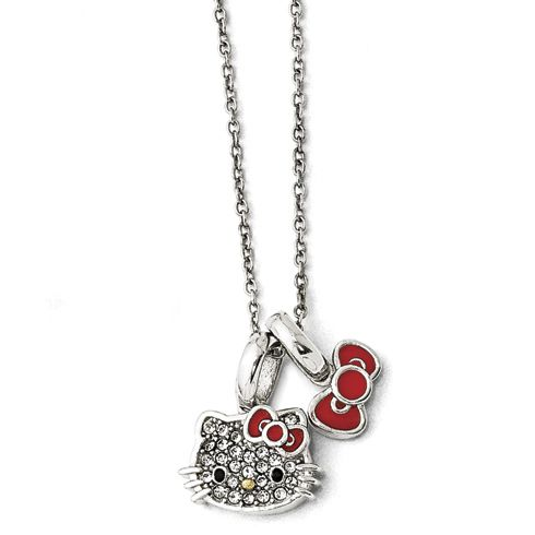 5962dc860 Sterling silver Hello Kitty necklace features white crystal accents. Gold-plated  red bow. Necklace length: 16in with 1in and 2in extensions.