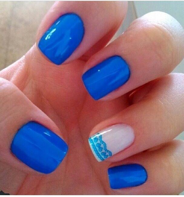 Azul electrico | Uñas azul rey, Uñas azules, Manicura de uñas