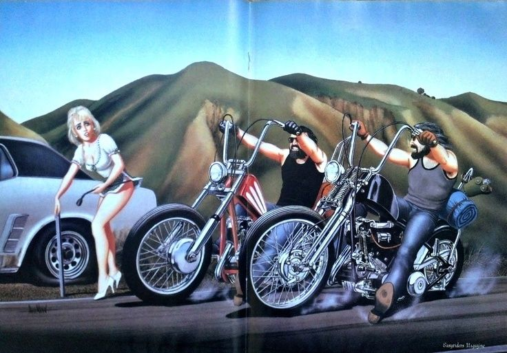 "David Mann Motorcycle Art | DAVID MANN Harley Davidson Motorcycle Art ""Flat Tire"" ... 