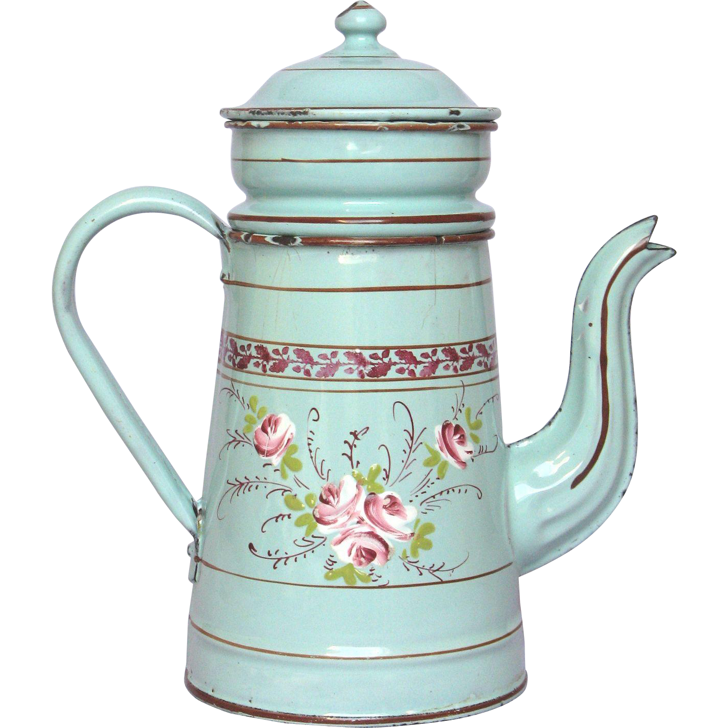 Hand Painted Floral French Enamel Drip Coffee Pot Biggin