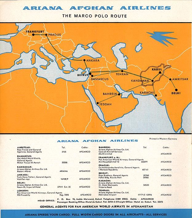 Ariana Afghan Airlines ARIANA AIRLINES Pinterest Afghans - new air france world map flight routes c.1948