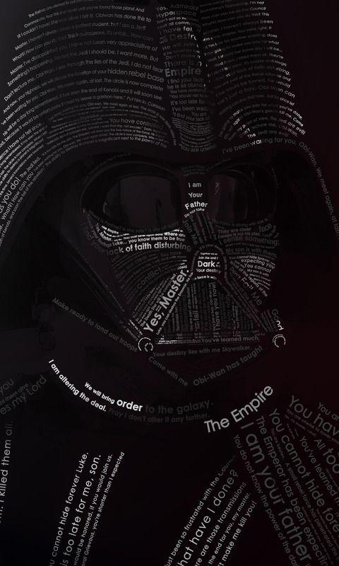 Darth Vader Typography Mobile Wallpaper 5442 Black Phone Wallpaper Darth Vader Mobile Wallpaper