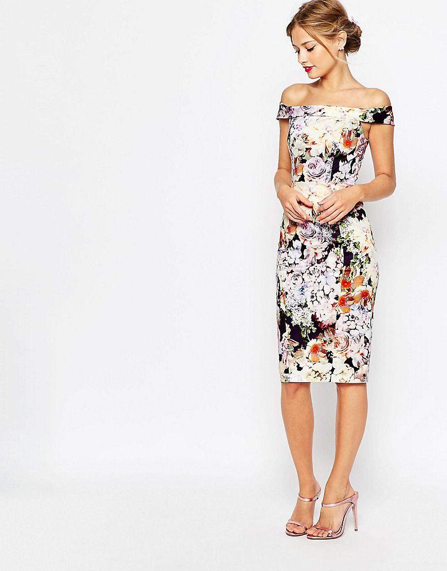 790160708bf7 ASOS+WEDDING+Bardot+Navy+Floral+Off+Shoulder+Pencil+Dress
