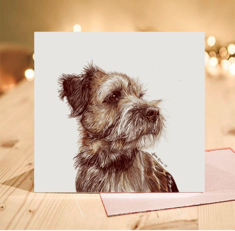 Border Terrier Greeting Card Design 1 Blank Inside Card Etsy Greeting Card Design Animal Portraits Drawing Card Design