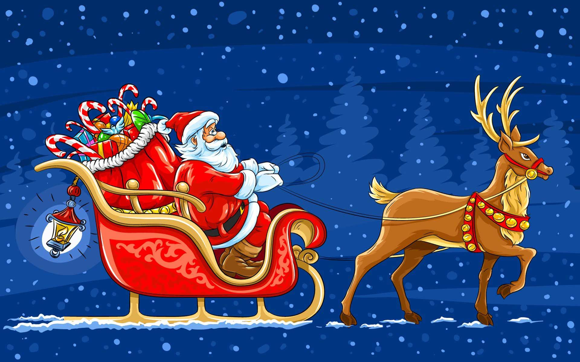 Holidays Christmas Santa Claus Moving Sledge Reindeer Gifts Backgrounds Wallpaper 1920x1200