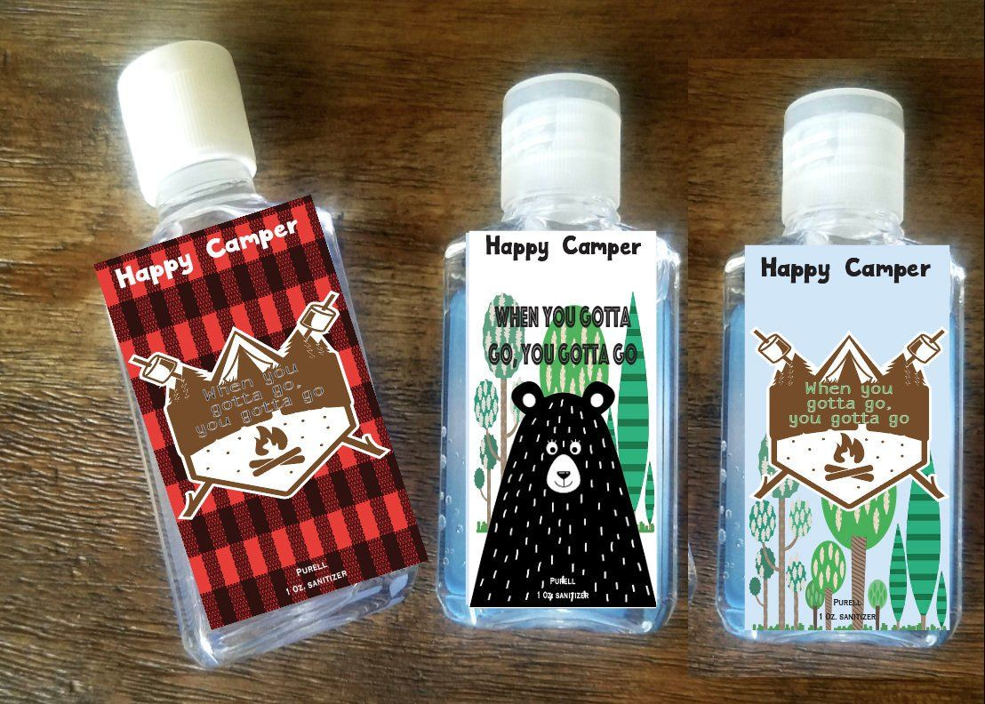 Happy Camper Hand Sanitizer Labels Party Favors Purell Buffalo