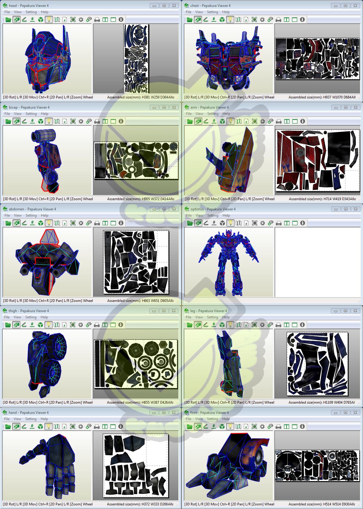 Optimus Prime Costume Template Pattern Pepakura 3d Model Costume