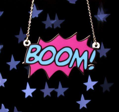 Boom,Comic,Blast,Necklace,,Silver,Plated,Chain,comic, geek, necklace, pow, bam, kapow, pendant, acrylic, laser cut
